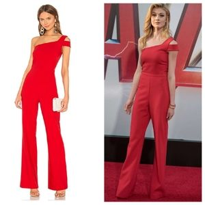 LIKELY Maxson Scarlet Red One Shoulder Jumpsuit